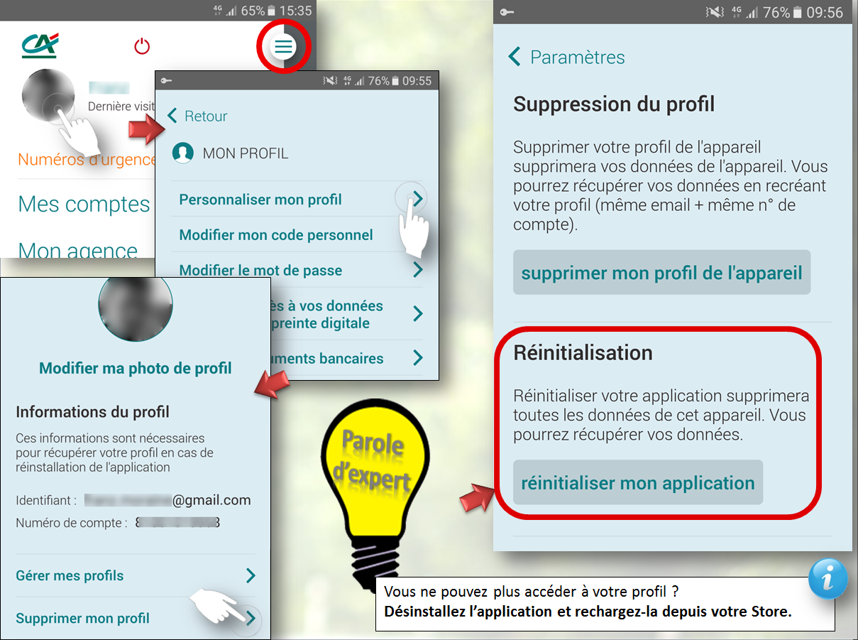 Réinitialiser l'application Ma Banque
